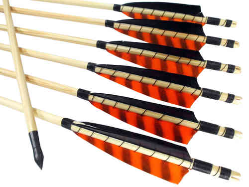 "Traditioneller Holzpfeil - Naturfedern 5"" Barred Orange / Schwarz"